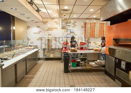 CHICAGO, IL - CIRCA MARCH, 2016: inside Blaze Pizza restaurant. Blaze Pizza LLC is a Pasadena, California-based chain within the fast-casual dining restaurants category.