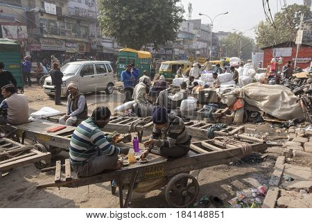 DELHI INDIA - DEC 20 : life of worker in chandni chowk in old delhi old delhi is aged and famous place of delhi on december 20 2014 india