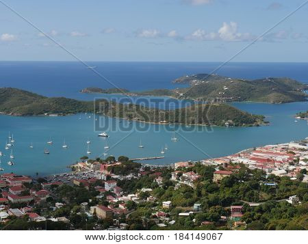 Aerial view of Charlotte Amalie, St. Thomas