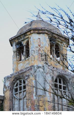 Ruins of San Jose Church Tower, Close-up Tinian, Northern Mariana Islands The top part of the ruins of the Old San Jose Church Tower in Tinian