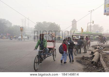 DELHI INDIA - DEC 27 : rickshaw in kamla market near new delhi railway station. rickshaw is most service in local area of delhi on december 27 2014 india