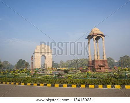 scene of india gate from east side india gate is war memorial of first world war
