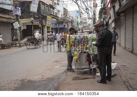 DELHI INDIA - MAR 15 : unidentified india people and betel stall in chawri bazar in morning. this market is large hardware market of delhi on march 15 2015 india