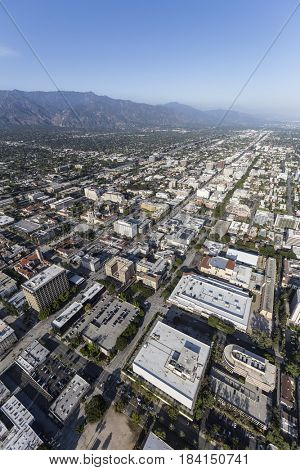 Aerial view of Pasadena and the San Gabriel Valley near Los Angeles, California.