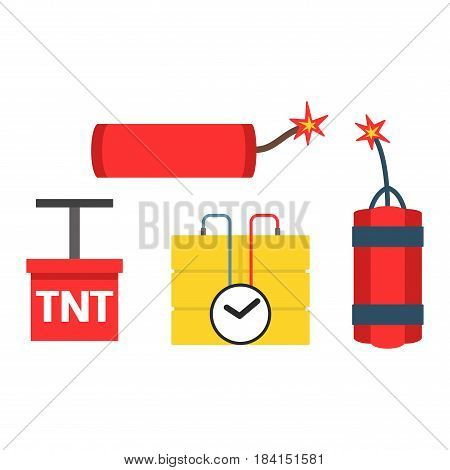 Set of bomb and dynamite explosive violence icons illustration. Bomb military weapon symbol explosive icon. Cartoon atomic danger army destruction fire bomb and rockets.