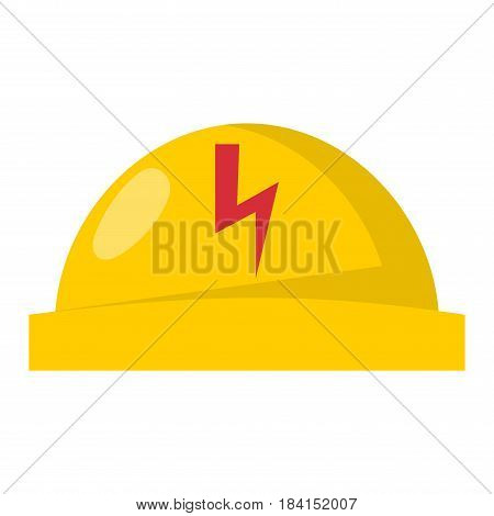 Yellow plastic helmet or construction safety hard hat engineer head safe equipment vector illustration. Protection work plastic hardhat professional solid contractor workwear.