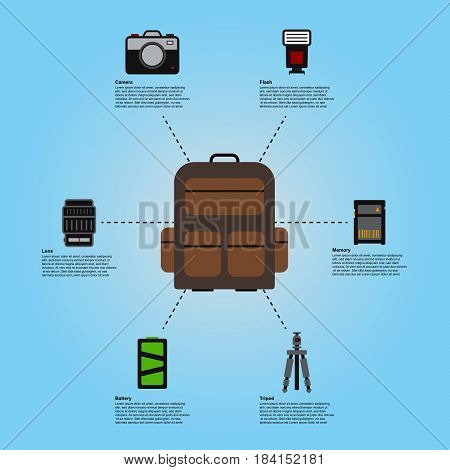 Camera basic accessories travel prepare backpack guide info graphics vector illustration