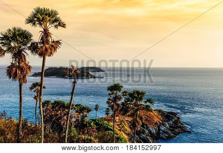 Sea sunset or sunrise in colorful of sky and cloud, Phuket sceni Lam prom thep (name thai) Sea in Thailand