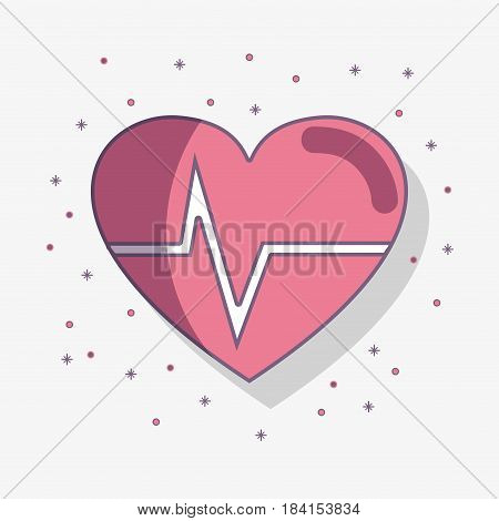 flat line heartbeat cardio vital sign, vector illustration