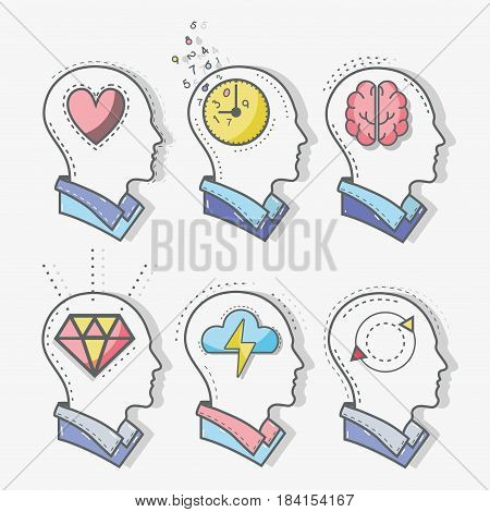 line silhouette head concept mental health, vector illustration