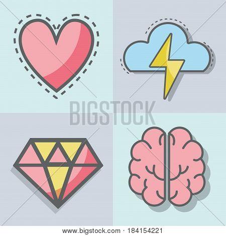 flat line set icon mental health, vector illustration