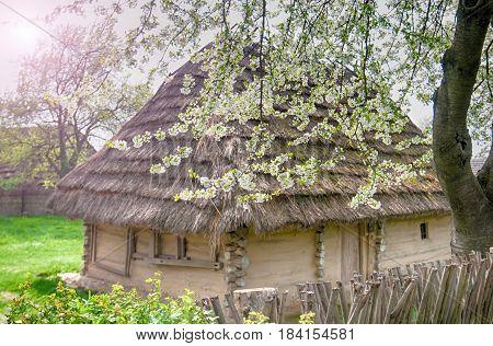 old wooden house. Museum of Folk Architecture in Uzhhorod