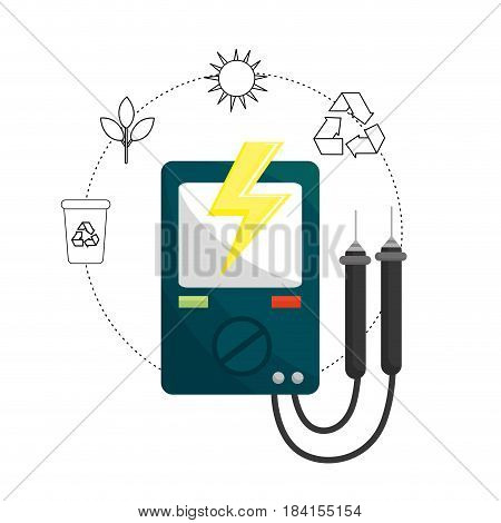 energy logger and environment care icons, vector illustration