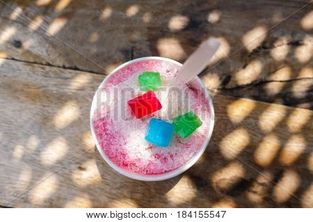 Shaved Ice,thai Traditional Dessert : Sweet Shaved Ice With Various Of Topping