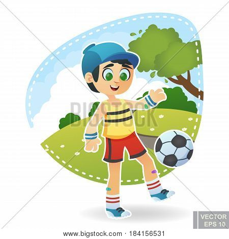 Cartoon Cute Little Child Kid Enjoying Summer Outdoor In Park With Football Soccer Ball Active Sport