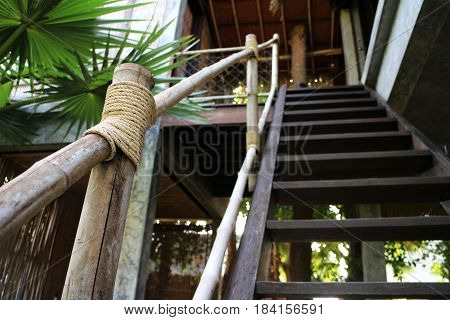 Stair Handrail made of Bamboo of a Thai Country house