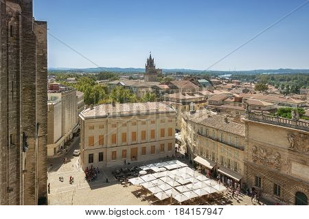 Avignon, France, September 9, 2016: View on Avignon from the Papal palace in Avignon