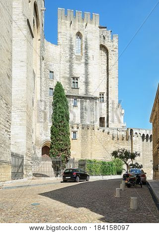 The outer wall of the Palais des Papes in Avignon France