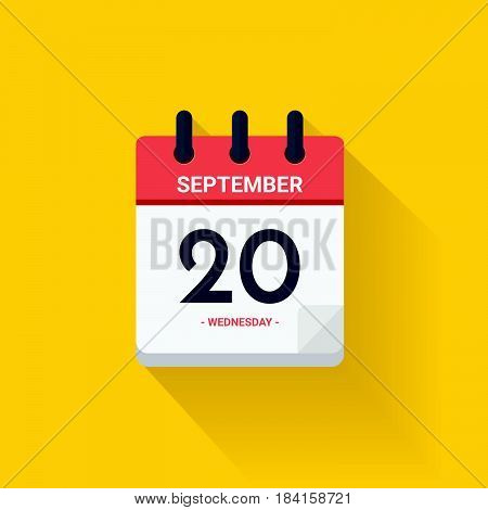 Vector illustration. Day calendar with date September 20, 2017. Rosh Hashana concept. Yellow background