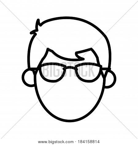 outlined head male faceless image vector illustration