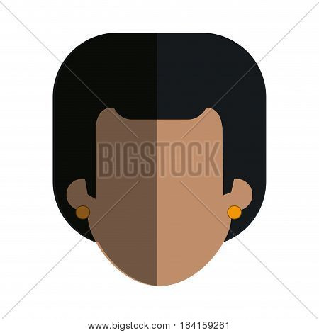 faceless head female with earrings vector illustration