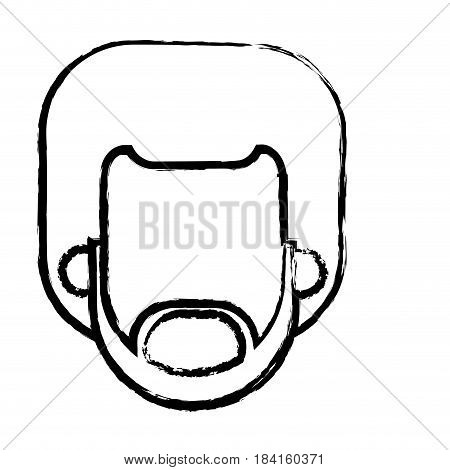 head beard man male afro person sketch vector illustration