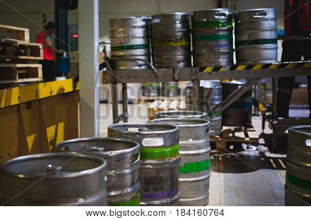 Process Of Transfer Of Aluminum Kegs From Filling Line To Pallet, Employee Of Production Line At Bre