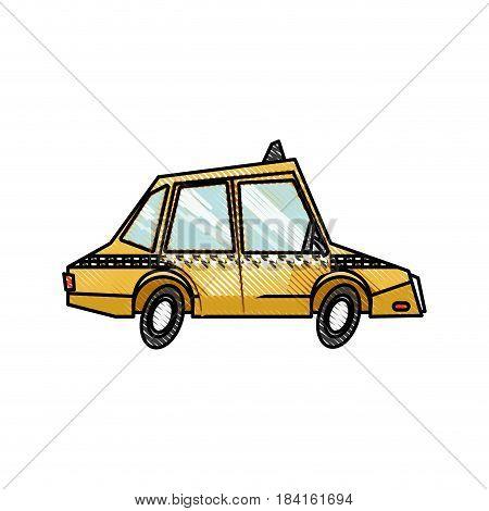 drawing taxi car public service transport design vector illustration