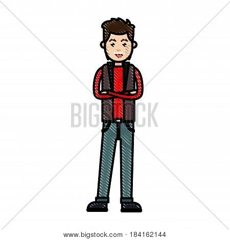 drawing young man with cross arm wear vest vector illustration