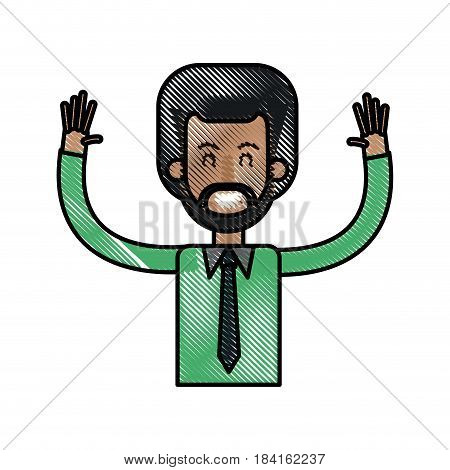 drawing afro man happy with up arms design vector illustration