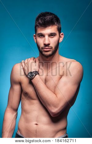Handsome Man, Posing, Shirtless Body, Blue Background