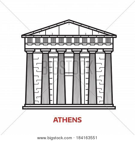 Travel Athens landmark icon. Parthenon is one of the famous architectural tourist attractions in capital of Greece. Thin line ancient column temple vector illustration in outline design.