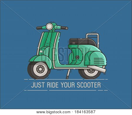 Green scooter standing. Cartoon motor bike on the road vector illustration. Parked motorcycle and motivation text. Retro motorbike in flat design.