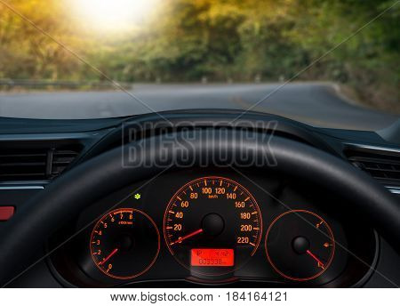 Travel In Car. Element Of Design. The Steering Wheel Inside Of A Car