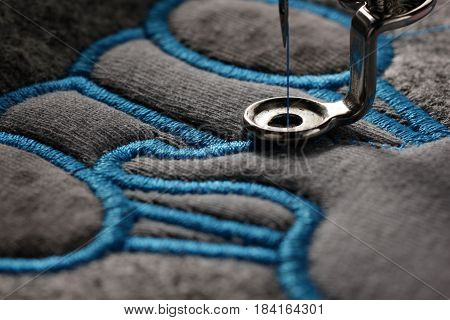 embroidery and application with embroidery machine - macro of satin stitch