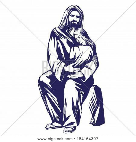 Jesus Christ, Son of God, holding a child in his hands, symbol of Christianity hand drawn vector illustration sketch