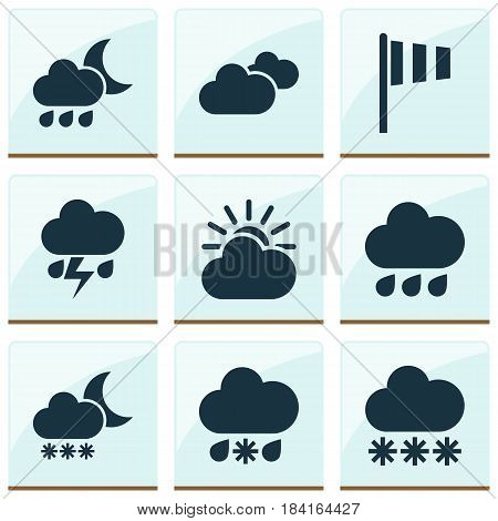 Nature Icons Set. Collection Of Nightly, Night, Wet And Other Elements. Also Includes Symbols Such As Vane, Snowy, Weather.