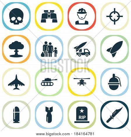 Combat Icons Set. Collection Of Missile, Target, Bombshell And Other Elements. Also Includes Symbols Such As Mechanism, People, Refugee.