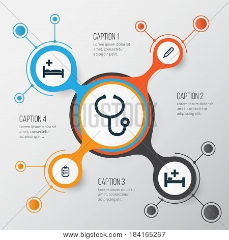 Medicine Icons Set. Collection Of Polyclinic, Mark, Review And Other Elements. Also Includes Symbols Such As Bed, Capsule, Mercury.