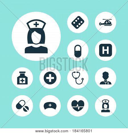 Medicine Icons Set. Collection Of Pellet, Cap, Remedy And Other Elements. Also Includes Symbols Such As Copter, Remedy, Medic.