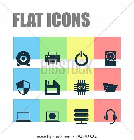 Computer Icons Set. Collection Of Printing Machine, Hdd, Power On And Other Elements. Also Includes Symbols Such As Machine, Web, Start.