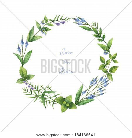Watercolor hand painted round wreath with herbs and spices. Illustration for cards, wedding invitation, beauty store, cosmetics, natural and organic products, save the date or greeting design.