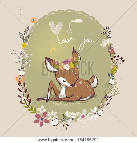 cute little cartoon deer with floral wreath