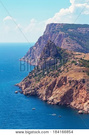 Beautiful Crimean Landscape with mountain and sea