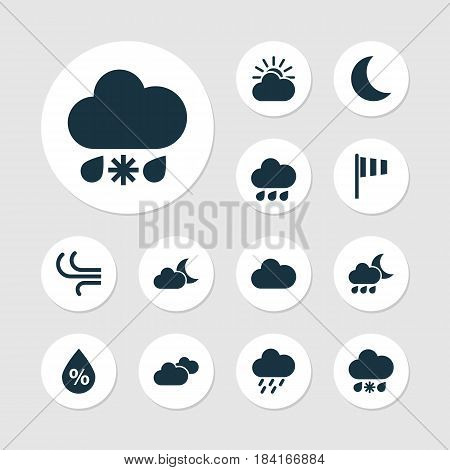 Climate Icons Set. Collection Of Cloudy, Weather, Moisture And Other Elements. Also Includes Symbols Such As Cloud, Douche, Shower.