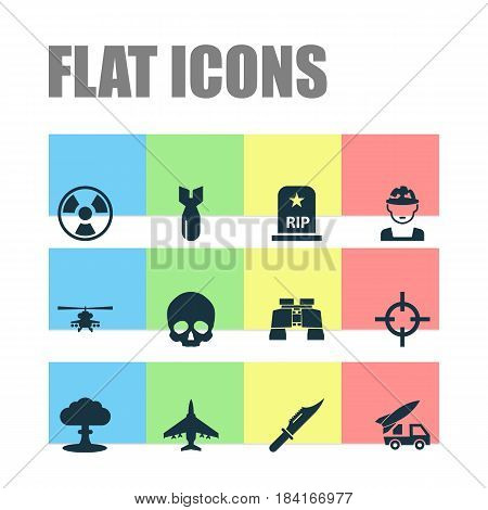 Combat Icons Set. Collection Of Atom, Military, Rocket And Other Elements. Also Includes Symbols Such As Military, Sniper, Atom.