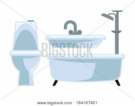Bathroom equipment set isolated on white vector illustration. Light toilet, wash basin with metal tap, bathtub with shower faucet. Ceramic elements for human and things cleaning and domestic usage