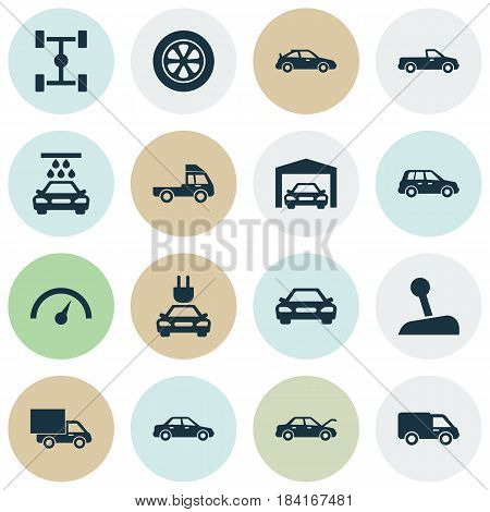 Automobile Icons Set. Collection Of Chronometer, Wheelbase, Automobile And Other Elements. Also Includes Symbols Such As Sports, Garage, Automobile.