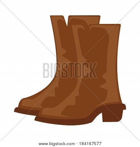 Brown boots pair isolated on white vector illustration in flat design. Dark long leather shoes for cold weather with hard base and small heels in western cowboy style. Casual cartoon footwear