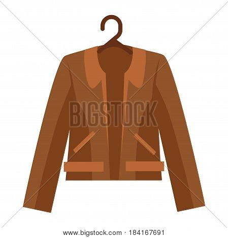Brown shortened leather jacket with collar and two pockets on white background. Natural outerwear hangs on dark hanger close-up icon. Vector illustration of modern outer garments flat design